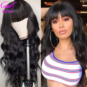 Image 2 - Cheap Body Wave Human Hair Wigs With Bangs Remy Hair Peruvian Body Wave Wigs Full Machine Made Wigs For Black Women 150% Density