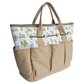 Torba na narzędzia ogrodowe zewnętrzna i wewnętrzna torba ręczna do ogrodu zestawy narzędzi z kieszeniami na płótnie uchwyt do przechowywania organizator zestawy narzędzi ogrodowych tanie i dobre opinie Other Garden Tote Bag canvas beige Approx 12 5 x 6 5 x 11 5in