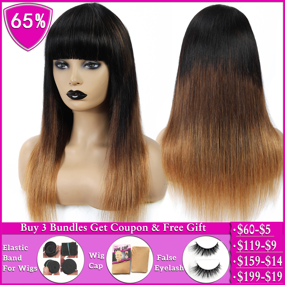 Brazilian Straight Wig With Bangs T1b/4/30 Honey Blonde Ombre Human Hair Wigs For Women Non-Remy Machine Made Wig 150% Density