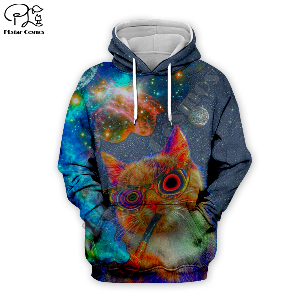 Men women galaxy smoking cat print 3d hoodies day of dead parade Halloween harajuku tshirt Sweatshirts zipper unisex Pullover in Hoodies amp Sweatshirts from Men 39 s Clothing