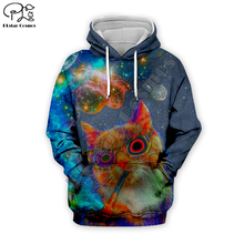 Men women galaxy smoking cat print 3d hoodies day of dead parade Halloween harajuku tshirt Sweatshirts zipper unisex Pullover