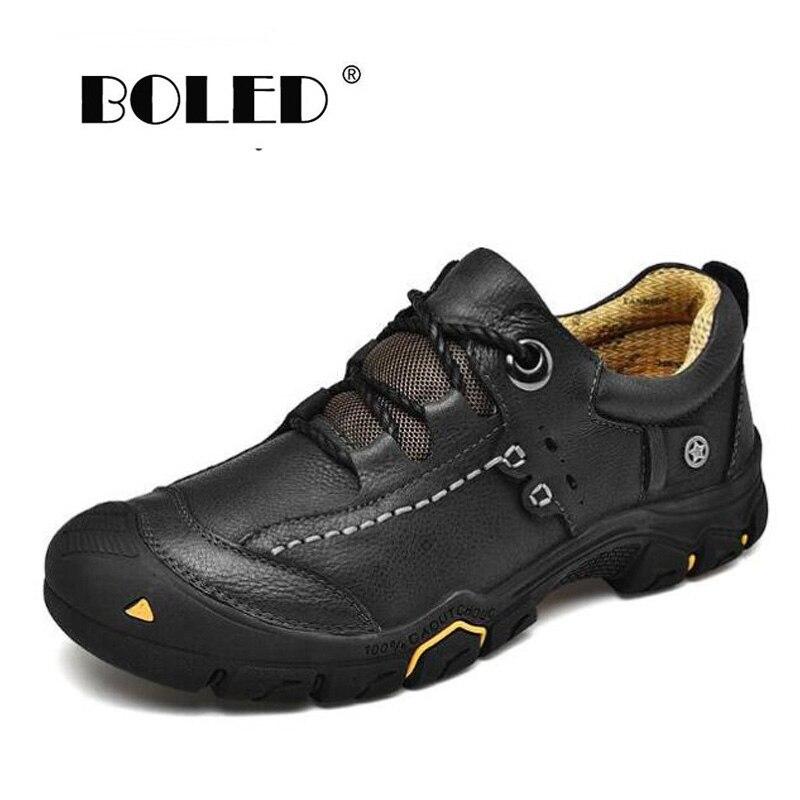 Мужские ботинки из натуральной кожи размера плюс; Демисезонная обувь; Ботинки на резиновой нескользящей подошве; Мужская Уличная обувь; Прямая поставка Ботинки      АлиЭкспресс