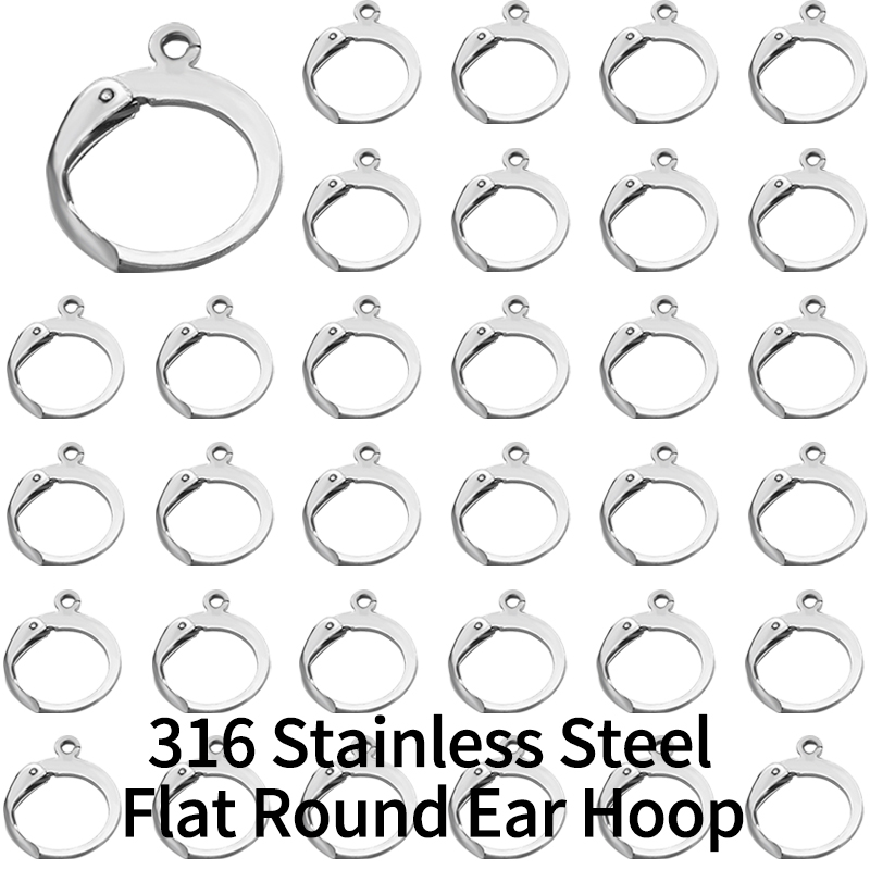 20 pcs 316L Stainless Steel Diy French Earring Hooks Wire Settings Base Hoops Earrings Accessories ForJewelry Making Materials