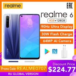 Realme 6 wersja globalna telefon komórkowy 4GB RAM 128GB ROM 30W ładowanie błyskowe 4300mAh Helio G90T 64MP aparat NFC sklep google Play ue wtyczka