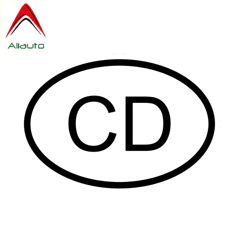 Aliauto Personality Car <font><b>Sticker</b></font> Cd Congo <font><b>Democratic</b></font> Republic Country Code Oval Vinyl Waterproof Decal Black/Silver,13cm*9cm image
