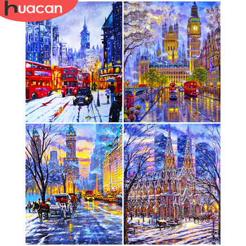 HUACAN Paint By Number Winter Landscape DIY Pictures By Number Snow Kits Home Decor Drawing On Canvas HandPainted Art Gift