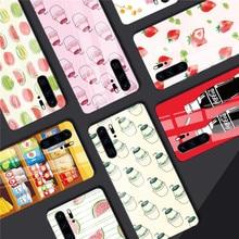 Tempered Glass Phone Case for Huawei Mate 20 Lite P30 P20 For Honor 8X 9 10 P smart Z Nova 3 Summer Fruit Cases Shells