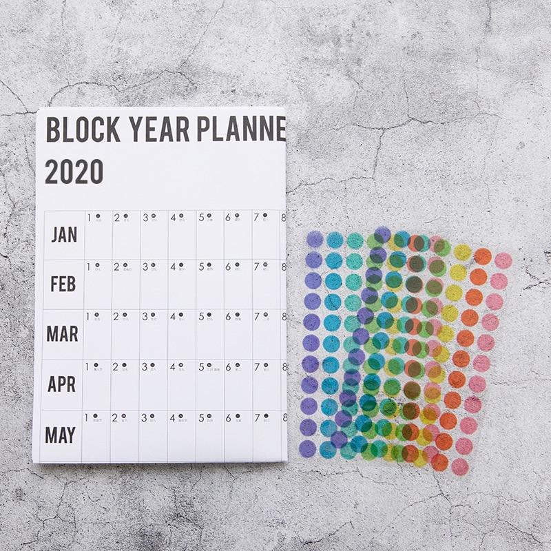 2020 Creative Calendar Sticker Label Index Schedule Planner Very Large Study New Year Plan Kids Gift 51.5*73cm