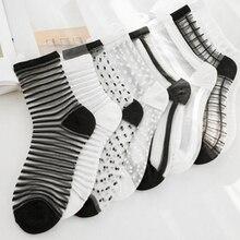1 Pair Ankle Socks Women Fashion Transparent Stripe Short Female Summer Women's Socks Summer 2019 Black White Socks
