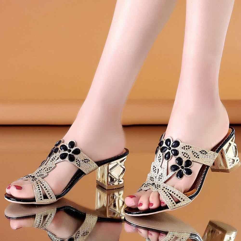BONJOMARISA klasik yaz serin metalik terlik zarif karışık renkli kristal slaytlar kadın yaz yüksek topuklu ayakkabılar kadın