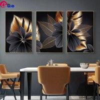 Diamant Malerei 3 teile/satz Abstrakte Luxus Blossom Blume Blatt Triptychon 5d Diamant Stickerei Mosaik Malerei Voll Platz/Runde