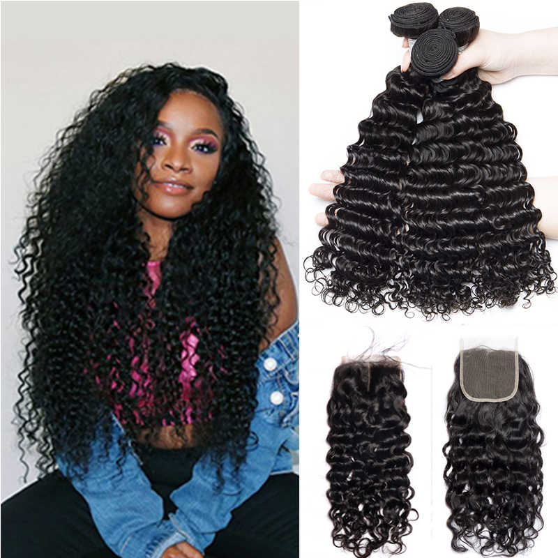 Alibele Malaysian Deep Wave Curly Bundles With Closure Remy Human Hair Extension Malaysian Human Hair 3 Bundle With Lace Closure