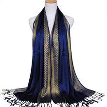 Yfashion Мода Мусульманский Стиль Золотой Нитью Кисточкой Мягкий Шарф Платок
