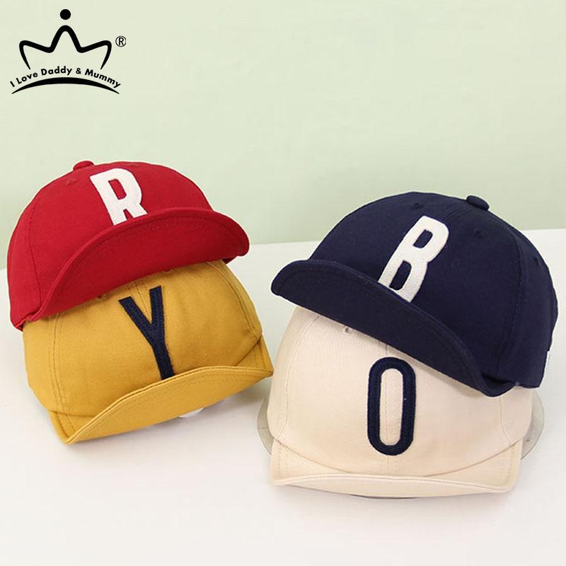 Однотонная детская кепка с надписью, весенне-летняя хлопковая бейсбольная кепка для маленьких мальчиков и девочек, детская повседневная ре...