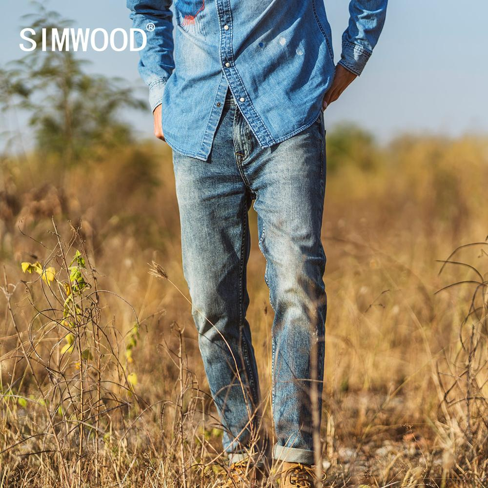 SIMWOOD 2020 Spring  Summer New Slim Taper Jeans Men Fashion Ripped Paint Splatter Jean Plus Size Denim Trousers SJ170131