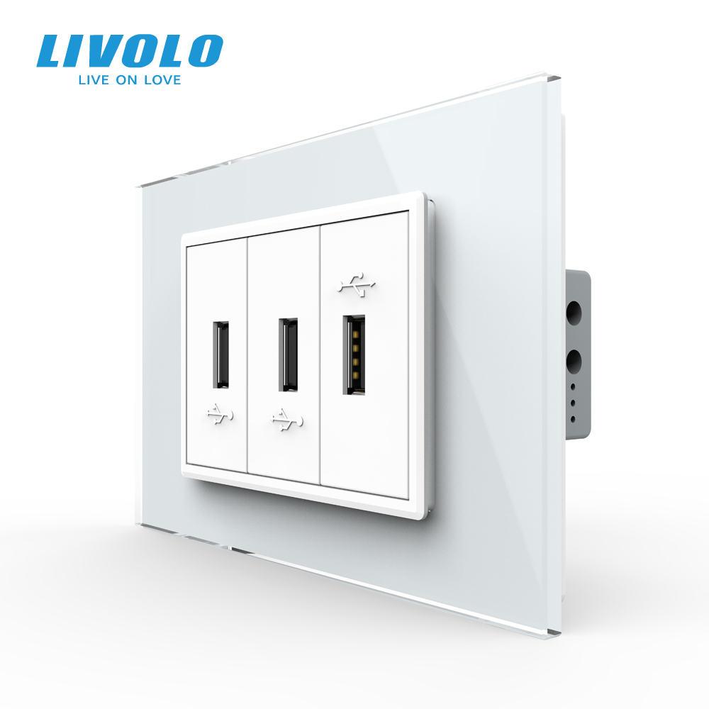 Livolo C9 US AU Standard 67.5mm Luxurious Telephone Com TV  SATV Aiduo Socket, White Pearl Crystal Glass Panel, Socket Plugs