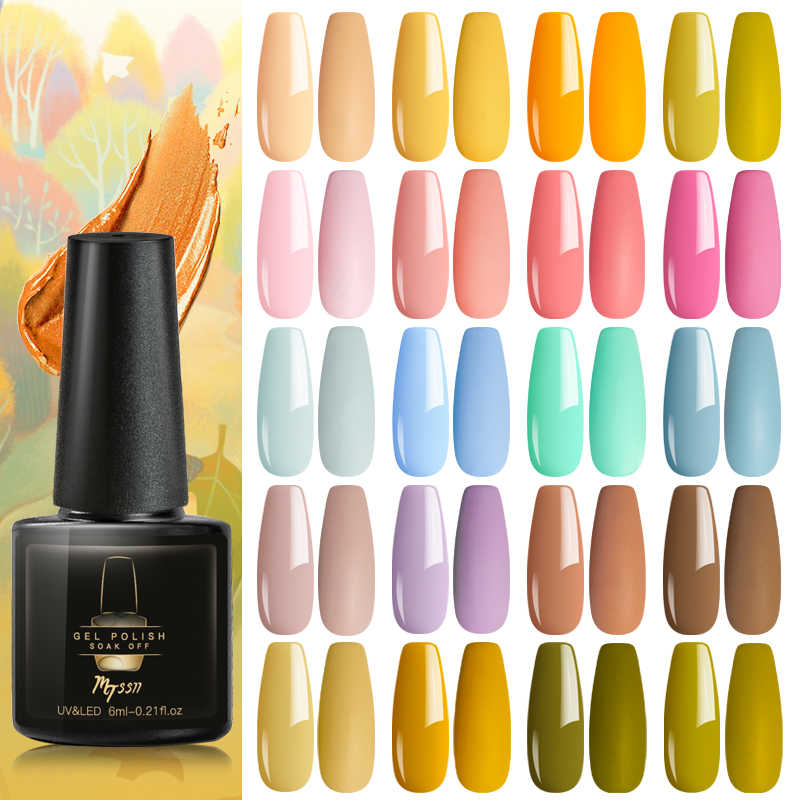 Mtssii 6ml esmalte de uñas de Gel de colores puros uña Color laca de Gel para uñas Gel UV Soak Off barniz Base capa superior