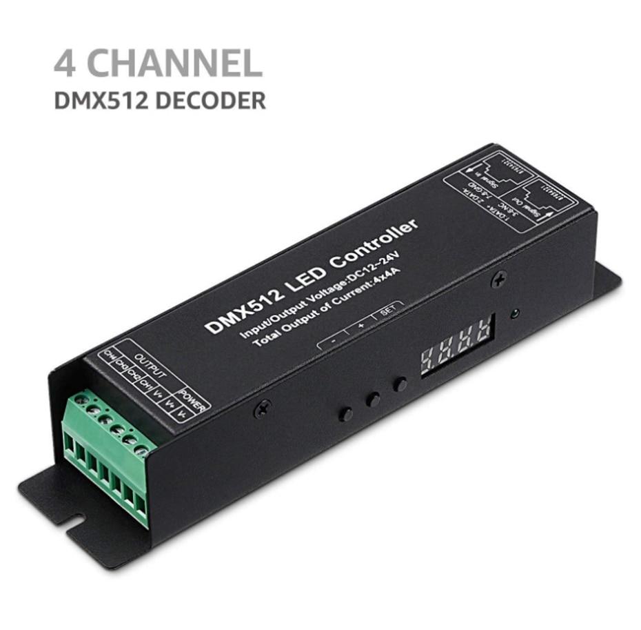 RGBW DMX512 Decoder Led Controller 4CH DC12-24V RGB LED DMX Decoder 4 Channel 4A RGB Controler For LED Strip Light LED Lighting