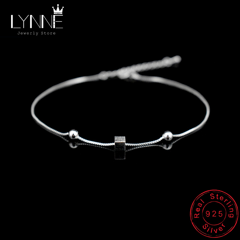 Hot 925 Sterling Silver Square Pendant Foot Anklet Bracelet Women&Girl Jewelry Anklets For Fashion Barefoot Sandals Foot Chain
