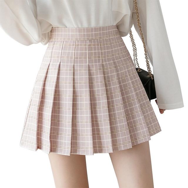 XS-XXL High Waist A-Line Women Skirt Striped Stitching Sailor Pleated Skirt Elastic Waist Sweet Girls Dance Skirt Plaid Skirt 74