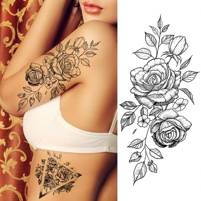Purple Rose Jewelry Water Transfer Tattoo Stickers Women Body Chest Art Temporary Tattoo Girl Waist Bracelet Flash Tatoos Flower 4