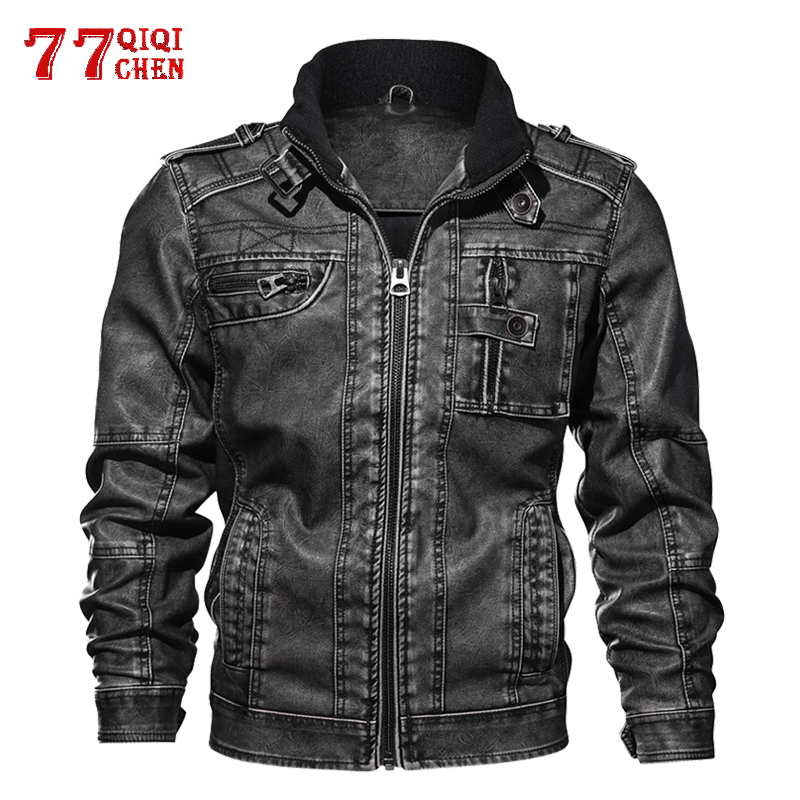 Men's PU Jacket Leather Coat Autumn Slim Faux Leather Motorcycle Jackets Stand Collar Coats Male Drop Shipping Plus Size 8XL