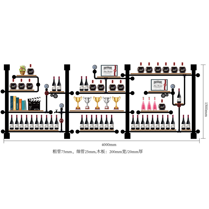 High Quality Iron Wall Mounted Wine Holder European-style New Design Creative Wine Rack Wine Bottle Display Stand Rack