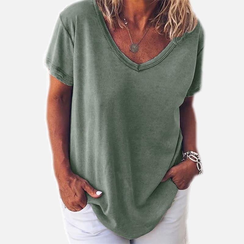Plus Size 5XL V-neck Loose Women T Shirt Solid Short Sleeve Casual Female Tshirt Summer Streetwear Fashion Black Ladies T-shirts