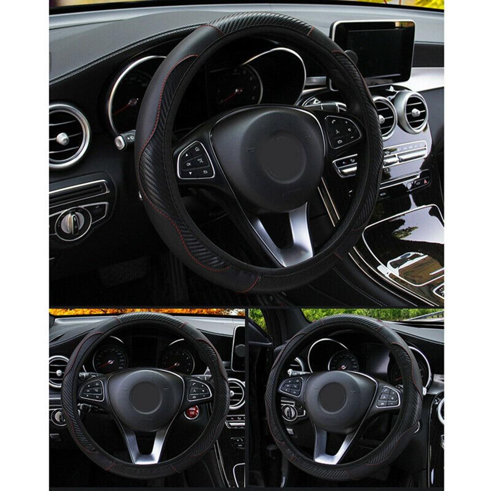 Car Steering Wheel Cover Protector Carbon Fiber Leather Anti-Slip For 37~38CM