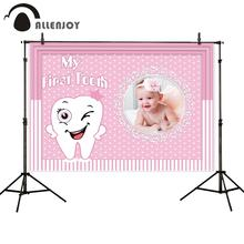 Party Backdrop Banner Happy-Birthday First Tooth Allenjoy Baby Shower Photozone My Girl