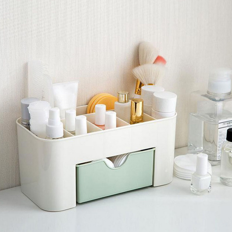 High Quality Plastic Makeup Organizer for Storage of Cosmetics and Makeup Brushes with Compartments and Drawer 2