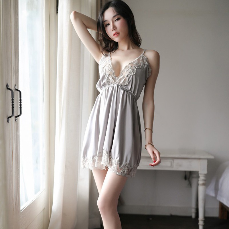 Women's Sleepwear Sexy Satin White Lace Deep V-Neck Lingerie Nightdress Sleeveless nightgown Fashion Nightshirt