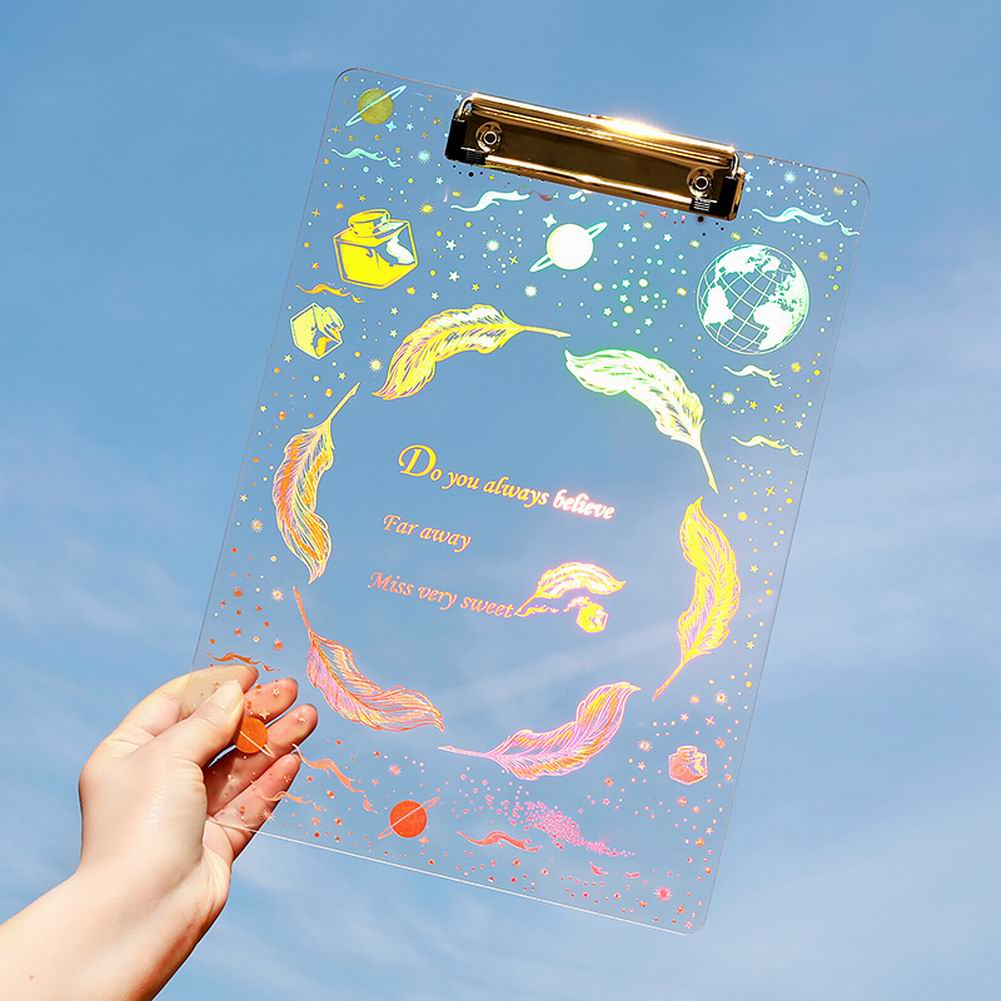 Transparent Clipboard With Starry Sky Design A4 Writing Paper  Document Folders Plated Clipboard File Folde School Stationery