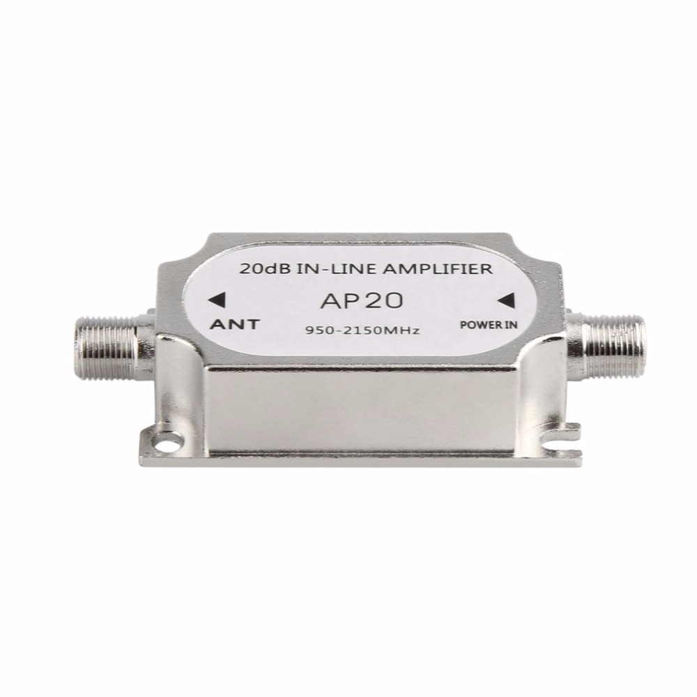 2018 New Satellite 20dB In-line Amplifier Booster 950-2150MHZ Signal Booster For Dish Network Antenna Cable Run Channel Strength