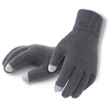 Men  Winter Gloves Knitted Gloves Touch Screen Solid Fashion Thicken Warm  Men Mitten Business pair of fashionable button stripy touch screen thicken pu gloves for men
