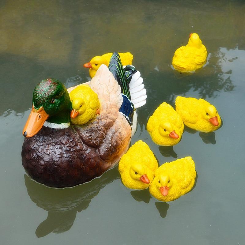 Cute Resin Floating Duck Statue Outdoor Garden Pond Fish Tank Decorative Swimming Wild Duck Sculpture For Garden Decor Ornament