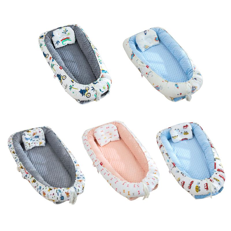 Portable Baby Sleep Nest Bed Crib Travel Bed Infant Soft Breathable Cotton Cradle Lounger Anti-collision Bumper