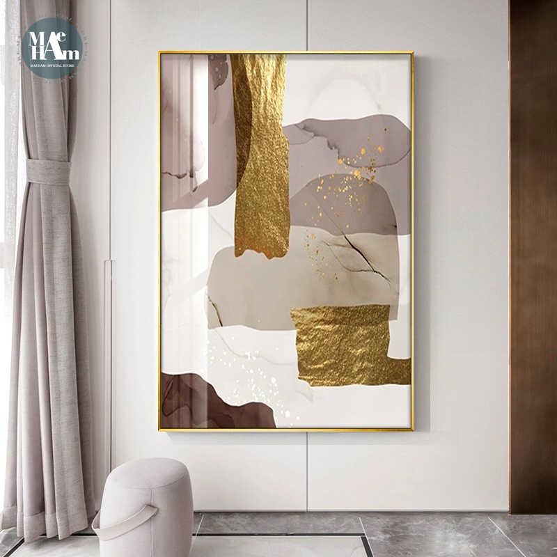 Абстрактные мраморные картины на холсте, Постер из коричневой золотой фольги, современные настенные картины на холсте, для гостиной, офиса, домашнего декора