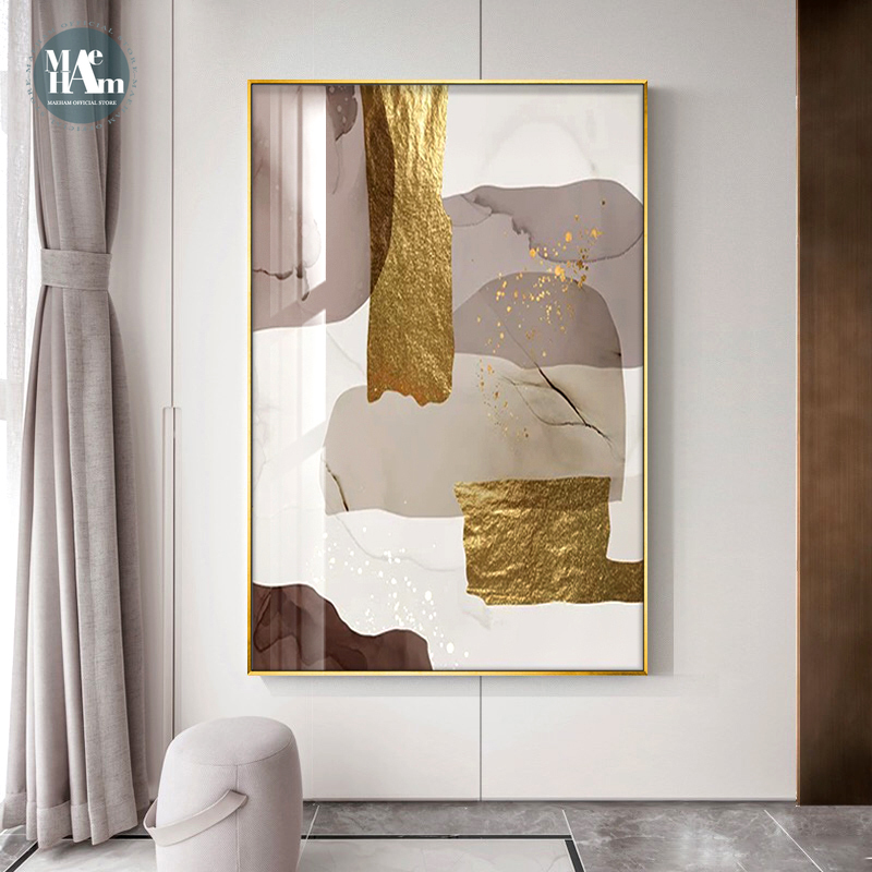 Abstract Marble Canvas Print Paintings Brown gold foil Poster Morden Wall Art Pictures on Canvas Living Room Office Home Decor
