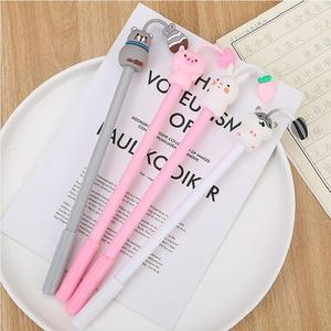 Image 3 - 40 unids/lote hámster conejo cerdo pluma de Gel con diseño de gato lindo Oficina papelería escuela agua Gel tinta negra para bolígrafo firma bolígrafo escolar