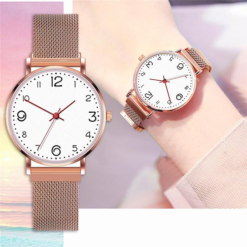 New Women's Watch Mesh Magnetic Buckle Minimalism Luxury Rose Gold Digital Dial Ladies Business Casual Gift Clock Relogio Femino