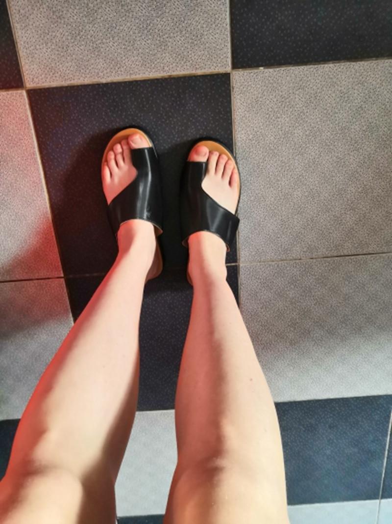 Hfd95ea5cbde5418ebd3b493a695eec06v Puimentiua Women slippers Flat Sole Casual Soft Big Toe Foot Sandal Women Shoes Comfy Platform Orthopedic Bunion Corrector