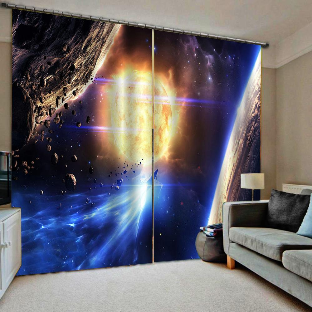 3D Blackout Curtains Custom Design Universe Space Curtains For Living Room Bedroom Hotel Cafe Home KTV Curtain Drapes