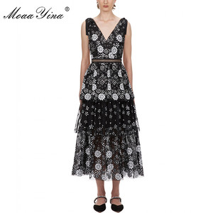 Image 1 - MoaaYina V neck Women dress Fashion Sexy Backless flower Female Sequins Tiered Midi dress