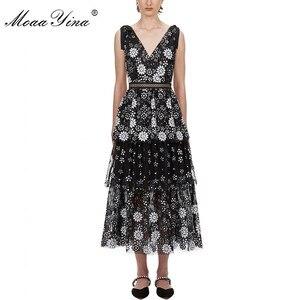 Image 1 - MoaaYina col en V femmes robe mode Sexy dos nu fleur femme paillettes à plusieurs niveaux robe Midi