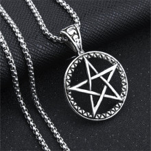 New Five-pointed Star Stainless Steel Chain Necklace For Men Gothic Round Pentagram Hollow