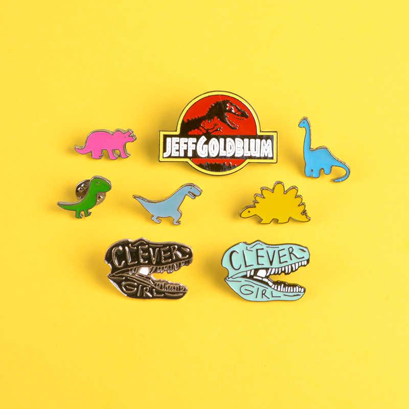 Kartun Dinosaurus Enamel Pin Stegosaurus Athlon Panjang Leher Naga Bros Kerah Pin Lencana Pakaian Ransel Perhiasan Hadiah untuk Anak