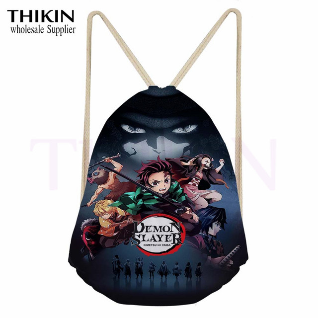 Demon Slayer Drawstring Printed Bag for Teenagers