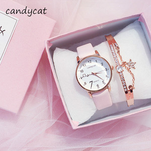 CandyCat Sakura Fen Watch Students Korean Version of Simple and Stylish Little Girl Hipster Cute Dropshipping Womens Watches(China)