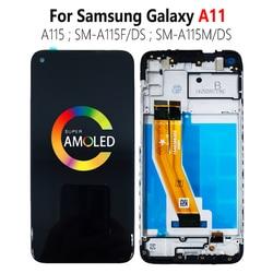 Super AMOLED для SAMSUNG Galaxy A11 LCD A115 SM-A115F/DS A115M, дисплей, сенсорный датчик, дигитайзер в сборе с рамным модулем
